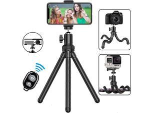 Phone Tripod, Portable and Extendable Camera Tripod Stand with Wireless Remote 360°Rotating Adjustable Flexible Cell Phone Tripod Compatible with iPhone, Android Phone, Camera, Sports Camera