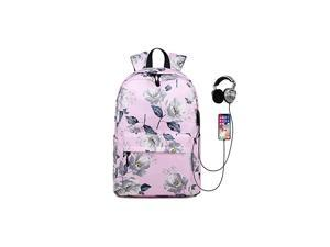Charging Backpack for Teen Girls Floral College Bookbag Waterproof with USB Charging Port Lightweight Travel Daypack for Work Canvas 15inch Laptop Bag for School Pink