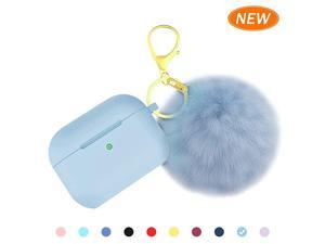 for Airpods Pro Case Cover, Soft Silicone Case Cover with Cute Pom Pom Fur Ball Keychain for Women Girls [Front LED Visible] Light Blue