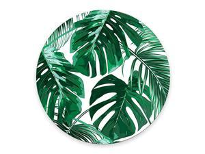 Leaf Mousepad Mat Beautiful Design Leaves Green with White Background Round Mouse pad