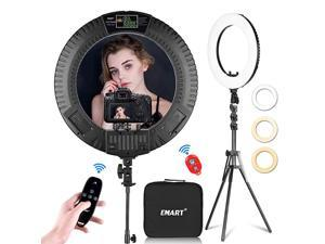 18 inch LED Ring Light with Tripod Stand 65W Adjustable Color Temperature 3200 k to 5500 k Makeup Ringlights with Phone Holder Carrying Bag Soft Tube Bluetooth for Camera YouTube