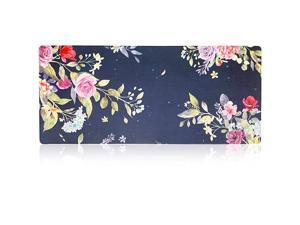 Gaming Mouse Pad Mat XXXL 354x157x0164mm Ultra Thick Extra Large Office Desk Mat Floral Design Stitched Edges Waterproof Heavy Duty MousepadWatercolor Flower