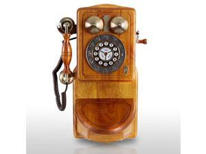 PRT45 Retro Antique Country Wall Phone - Retail Packaging - Wood