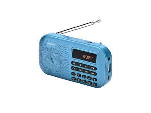 RM155Pro AM FM Radio Portable Mini USB Speaker MP3 Music Player SupportMicro SDTF Auto Scan Save LED Display USB Transmit Data and Sound Card Function Rechargeable BL5C Battery Blue