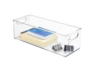 Large Stackable Plastic Storage Bin Container Home Office Desk and Drawer Organizer Tote with Handles Holds Gel Pens Erasers Tape Pens Pencils Markers 16 Long Clear