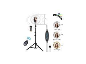 Light Dimmable Led 10 Tripod Stand 63 Tripod with Light with Phone Stand Height Adjustable Tripod Selfie Stick Circle Light Lighting for YouTube VideoLive StreamMakeupPhoto