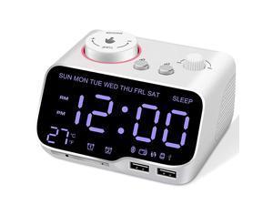 Alarm Clock Radio Bluetooth Speaker Battery Backup Clock with DimmerFM RadioSleep TimerDual AlarmsSnooze2 USB Charging PortsTF CardThermometerDigital Clock for BedroomWhite