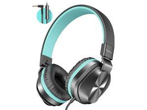 OnEar Headphones with Microphone Lightweight Folding Stereo Bass Headphones with 15M Tangle Free Cord Portable Wired Headphones for Smartphone Tablet Laptop Computer MP34Mint