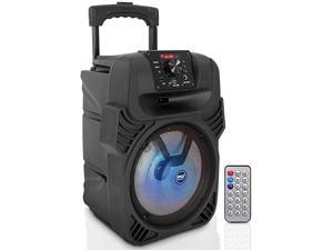 Portable Bluetooth PA Loudspeaker 8 Subwoofer System 4 Ohm5520kHz USBMP3FM Radio ¼ Mic Inputs MultiColor LED Lights Builtin Rechargeable Battery w Remote Control Pyle PPHP844B