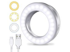 Selfie Ring Light 3 Light Modes Rechargeable Clip on Phone Camera LED Light Adjustable Brightness Selfie Circle Light Designed for iPhone X Xr Xs 11 12 Pro Max Android iPad Laptop
