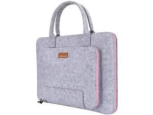 """17 17.3 Inch Laptop Bag, Felt Laptop Sleeve Notebook Computer Case Carrying Bag Pouch with Handle Compatible with 17.3"""" Asus/Lenovo, Gray & Pink"""