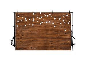 8X6ft Rustic Wood Photography Backdrops Props Shining Bulbs Dark Wood Birthday Wedding Holiday Party Decoration Photo Studio Booth Background Banner