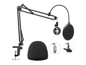 Heavy Duty Microphone Stand with Mic Windscreen and Dual Layered Mic Pop Filter  Adjustable Microphone Suspension Boom Scissor with Shock Mount Mic Clip Holder Black