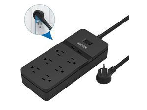 Flat Plug Power Strip with USB  Mountable Surge Protector Flat Plug 6 Outlets 2 USB Desktop Charging Station 5ft Heavy Duty Extension Cord 15A Circuit Breaker for Home and Office Black
