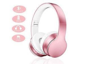 Bluetooth Headphones 4 in 1 Upgrade Bluetooth Foldable OverEar Headsets with Micro Support SDTF Card Compatible with BluetoothEnabled Devices Rose Gold