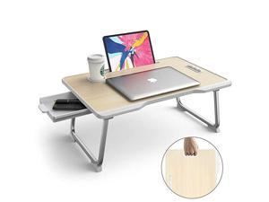 Folding Standing Lap Desk MultiFunction  Laptop Bed Table Stand Laptop Desk with HandleDrawerCup Holder for Bed Sofa