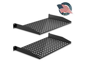 2Pc 1U Server Rack Shelf Vented Shelves for Good Air Circulation Cantilever Mount Wall Mount Rack Universal Device Cabinet Shelf Computer Case Mounting Tray Black PLRSTN14UX2