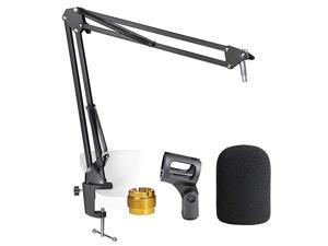 AT2020 Mic Stand with Pop Filter Microphone Boom Arm Stand with Foam Windscreen for AT2020 USB+ AT2035 Condenser Microphone by