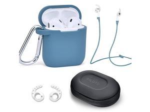 Case for Airpods Accessories Set  Airpod Silicone Case Cover with KeychainStrapEarhooksAccessories Storage Travel Box for Apple Airpods 21 Best Gift for Your Air Pod Lake Blue