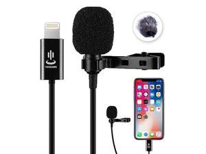 Lapel Microphone Professional Omnidirectional Video Audio Microphone for iPhone X Xr Xs max 8 8plus 7 7plus 6 6plus 6s 5 iPad 6m196ft