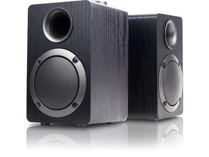 PC Computer Speakers Mica PB20i with 20CH Surround Sound Wooden Wired LED Volume Control Mini Speaker for Multiple Devices Black