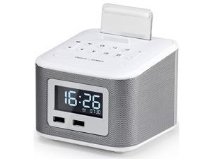 Clock RadioWireless Bluetooth SpeakerDigital Clock USB Charger for Bedroom with FM Radio2 USB Charging PortAUXin and Cell Phone StandSnoozeDimmerBattery Backup FunctionWhite