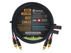 Foot RCA Cable Pair - Gotham GAC-4/1 (Black) Star-Quad Audio Interconnect Cable with Amphenol ACPL Black Chrome Body, Gold Plated RCA Connectors - Directional