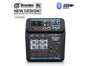 Mini 4 Channel Mixer Audio DJ Console with Sound Card USB Audio Interface 48V Phantom Power Mixer for PC Recording Singing Webcast Party