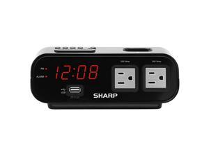 Digital Alarm Clock with 2X Power Outlets with Surge Protect and Rapid Charge USB Port Grey Outlets