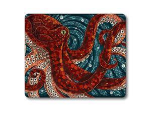 Red Octopus Mouse Pad Octopus in The Oceans Customized Rectangle NonSlip Rubber Mousepad Gaming Mouse Pad