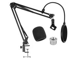 Microphone Stand with Pop Filter  Mic Stand With Clip for Blue Yeti Microphone Stand Desk Suspension Boom Scissor Arm Mic Stand for Blue Snowball Blue Yeti and Other Microphones