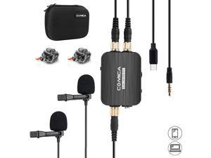 CVMD03 STC USB C Professional Dual Lavalier Lapel Microphone Omnidirecitonal Dual Lavalier Mic for iPhone Android Smartphone ComputerRecording Mic for YouTubeInterviewVideo