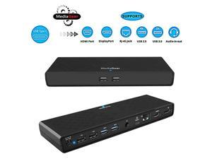 USB C Docking Station w/ 45W Laptop Power Delivery: Dual HDMI+DisplayPort, USB 3.0/2.0, Ethernet, Audio/Mic Jack, Bundle: 65W AC Adapter, C-C Cable, C-A Dongle for Mac & Windows OS