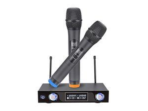 Wireless Microphone System Dual Channel Handheld Microphone with LCD Display Singing Machine Karaoke Mixer Set for Outdoor Wedding Conference Family Party Church