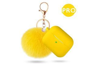 Case for Airpods Pro Case,  Airpod Pro Case Cover for Air pods Charging Case, Cute Silicone Protective Case for AirPods Compatible with Airpod 3 Accessories Keychain (Yellow)