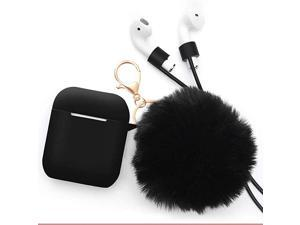 for Airpods Case -  Drop Proof Air Pods Protective Pom Pom Keychain Case Cover Silicone Skin for Apple Airpods 2 & 1 Charging Case, Cute Fur Ball Airpods Keychain/Strap (Purple)
