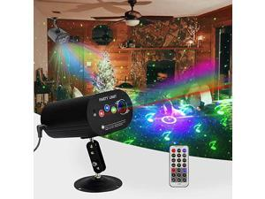 Party DJ Laser Light Projector Lens 48 Patterns Stage Strobe Lighting Sound Activated Remote Galaxy Ripple Wave Strobe Lighting for Disco Room Christmas Halloween RGB Lasers+ Background