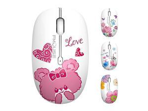 M101 Wireless Mouse Cute Silent Computer Mice with USB Receiver 24G Optical Wireless Travel Mouse 1600 DPI Compatible with Laptop Notebook PC Computer Bear
