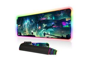 Led Gaming Mouse Pad Oversized Glowing Mat Colorful Soft Mat for Mice Computer Keyboard with Non-Slip Rubber Base Water-Resistant (80x30 rgbgreencity)