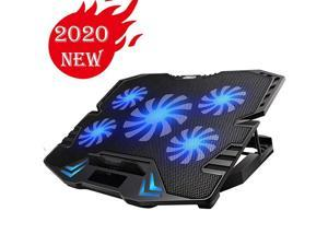 Laptop Cooling Pad, Gaming 5Fans 15.6inch Laptop Cooler Stand Fan, Adjustable Foldable Long Stand, Fans/Lights Switch with dimmable-Speed, for MacBook Air Pro Dell XPS HP Alienware Notebook