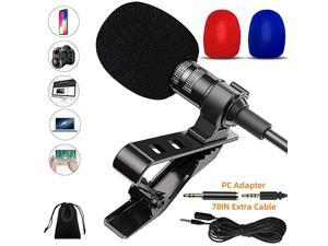 Lapel Microphone Kit for PCLaptopCameraPhone 35mm Mini Lavalier Clip On Mic for PodcastStreamingVlogVideo RecordingGamingValentine Gifts for Him