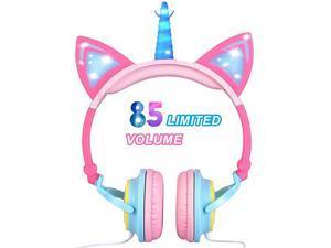 Unicorn Kids Headphones for Girls Boys Cat Ear LED Headphones Light Up Wired Adjustable Foldable 85dB Volume Limited OnOverEar Headphone for Game Travel Headset School Birthday Gift Pink