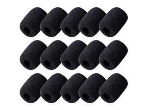 Shop 15 Pack Foam Microphone Windscreen Headset Microphone Sponge Foam Cover Shield Protection Black