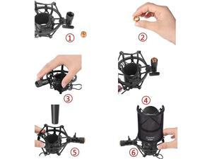 Microphone AT2020 Shock Mount with Pop Filter  Universal Shock Mount for 46mm53mm Diameter Mic compatible for AT2020 AntiVibration Suspension Microphone Shock Mount Bonus Screw Adapter