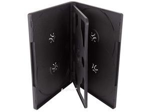 10 Multi6 DVD Cases Standard 14mm for 6 Discs with Black Overlap Trays and Clear Outer Sleeve