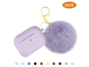 for Airpods Pro Case Soft Silicone Case with Cute Pom Pom Keychain Shockproof Slim Protective Cover for AirPods Pro Charging Case Visible Front LED