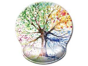 30 Larger Ergonomic Mouse Pad with Gel Wrist Rest Support Abstract Colorful Tree of Life Oil Paintings Art Creative Design Non Slip PU Base Mouse Pad Wrist Rest for Office Laptop