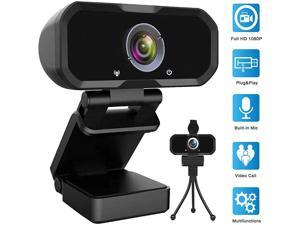 1080p HD Computer Camera - Microphone Laptop USB PC with Privacy Shutter and Tripod Stand, 110 Degree Live Streaming Widescreen Recording Pro Video Web Camera for Calling, Conferencing