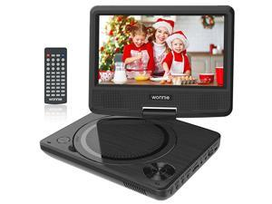 11 Kids Portable DVD Player for Car with 9 Swivel Screen Rechargeable Battery Remote Control USB SD Card Reader Region Free Black