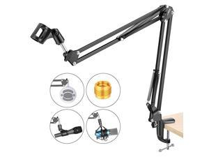 Adjustable Microphone Suspension Boom Scissor Arm Stand, Max Load 1 KG Compact Mic Stand for Radio Broadcasting, Voice-Over, Stage and TV Stations, Compatible with Blue Yeti Snowball Yeti X,etc
